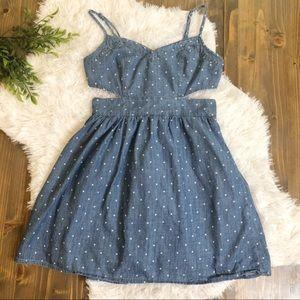 A&F Cut-Out Dress Denim Chambray Polkadots XS